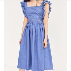Silence + Noise Denim Pinafore Apron Dress